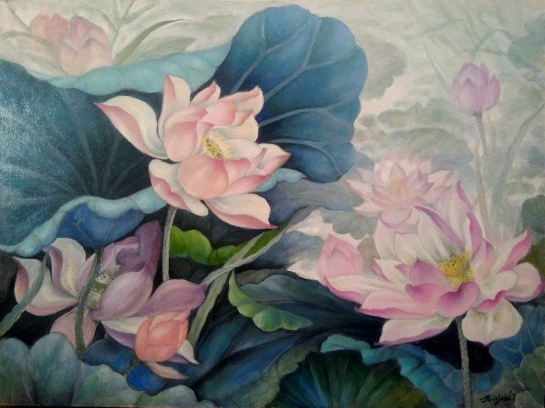 Jinyu Li artwok Lotus in the wind Oil on canvas